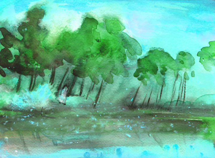 Early Morning 32 - Painting, ©2012 by Miki de Goodaboom -                                                                                                                                                                                                                                                                                                                                                                                                                                                                                                                                                                                                                                                                                                                          Figurative, figurative-594, landscapes, light, impressionism, skies, minimalism, simplicity, aquarelle, times, day, lose painting, free painting, early morning, trees