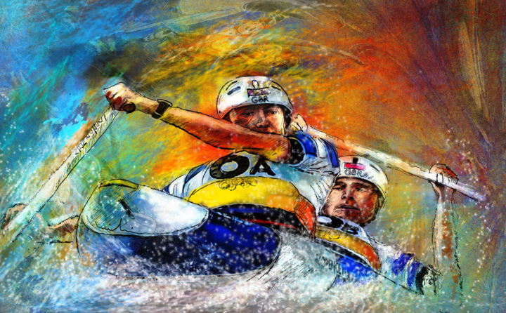 Olympics Slalom Canoe 04 - Painting ©2012 by Miki de Goodaboom -                            Realism, sports, sport, art, watersport, extreme sports, canoe, slalom, c2, olympics, london, 2012, gb team, silver medal, David Florence, Richard Hounslow, miki