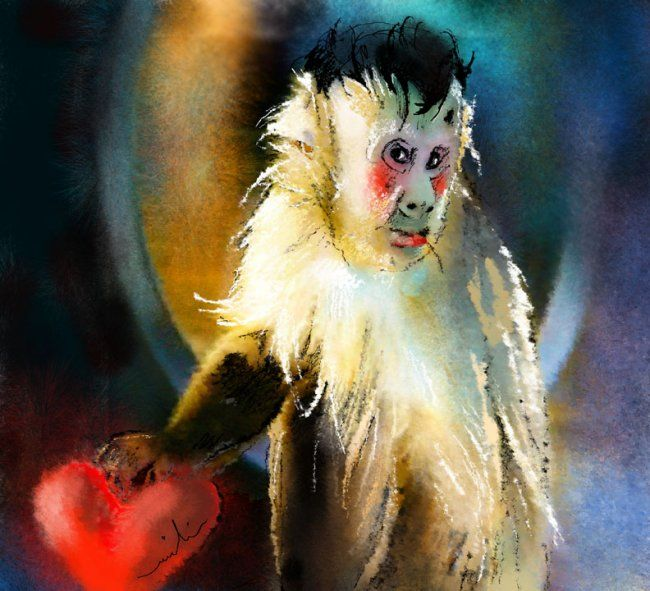 Keep Hold of My Heart - Painting, ©2013 by Miki de Goodaboom -                                                              Painting of a monkey holding a heart