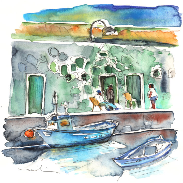 Candelaria 04 - Painting, ©2013 by Miki de Goodaboom -                                                                                                                                                                                                                                                                                                                                                                                                                                                                                                                                                                                                                                                                                                                                                                                                                                                                                                          Abstract, abstract-570, travel, sketch, watercolour, ink, Europe, Canarian, Islands, Tenerife, Candelaria, Spain, architecture, townscape, houses, harbour, Impressionism, boats, fishermen