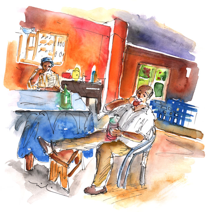 Together Old in Tenerife 03 - Painting, ©2013 by Miki de Goodaboom -                                                                                                                                                                                                                                                                                                                                                                                                                                                                                              Abstract, abstract-570, travel, Spain, Tenerife, Canary islands, old men, San Juan de La Rambla, wine, drinking