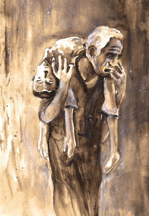 The Great Hunger in Ireland 02 - Painting, ©2013 by Miki de Goodaboom -                                                                                                                                                                                                                                                                                                                                                                                                                                                                                                                                                                                      Abstract, abstract-570, famine, Ireland, Dublin, potatoes, men, women, watercolour, sculptures, statues, hunger