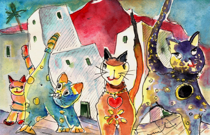 Cat Town in Lanzarote - Painting, ©2013 by Miki de Goodaboom -                                                                                                                                                                                                                                                                                                                                                                                                                                                                                                                                                                                                              travel, sketch, fun, Spain, Canary Islands, Lanzarote, animals, cats, rainbow, fun, art for children, illustration, decoration