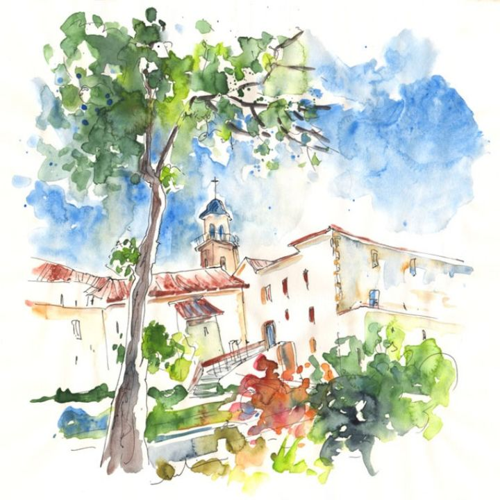 Velez-Rubio Townscape 01 - Painting, ©2013 by Miki de Goodaboom -                                                                                                                                                                          Figurative, figurative-594, Watercolour and ink travel sketch painting in impressionist style of houses and buildings in Velez-Rubio in Andalusia
