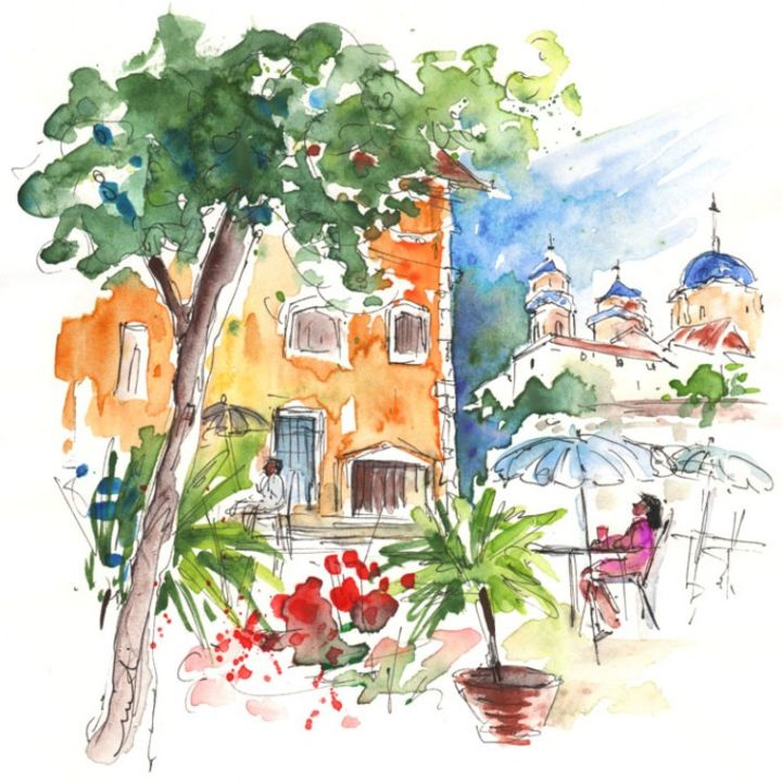Velez-Rubio Townscape 03 - Painting ©2013 by Miki de Goodaboom -                            Figurative Art, Watercolour and ink travel sketch painting in impressionist style of people sitting at a cafe in Velez-Rubio in Andalusia