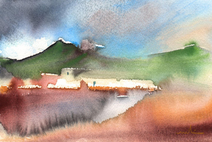 Landscape of Lanzarote 04 - Painting, ©2013 by Miki de Goodaboom -                                                                                                                                                                                                                                                                                                                                                                                                                                                                                                                                          Figurative, figurative-594, travel, art, Europe, Spain, Canary Islands, Lanzarote, landscapes, houses, volcanoes