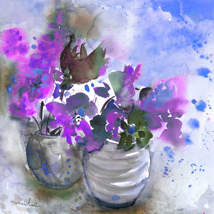 Symphony in Blue and Purple - Peinture, ©2013 par Miki de Goodaboom -                                                                                                                                                                                                                                                                                                                                                                                                                                                                                                                                                                                                                                                                                                                                                                                                                  Figurative, figurative-594, flowers, bouquet, vase, vases, fantasy, impressionism, white vase, purple flowers, pink flowers, modern, abstraction, French art, florals, floral, black tulip