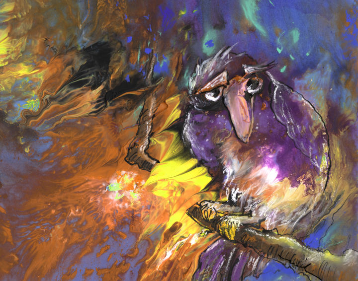 Sad bird painting 2013 by miki de goodaboom abstract expressionism fantasy