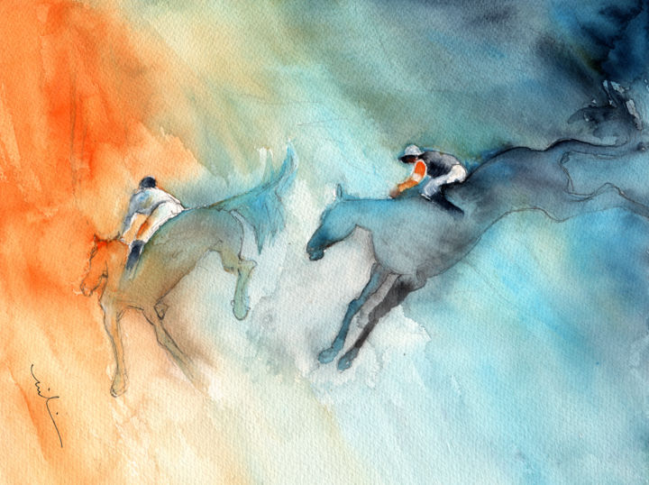 Horse racing 02 - ©  sports, horses, animals, animal, horses racing, horse racing, impressionism, expressionism, steeplechase, horse jumping, Grand National Online Artworks
