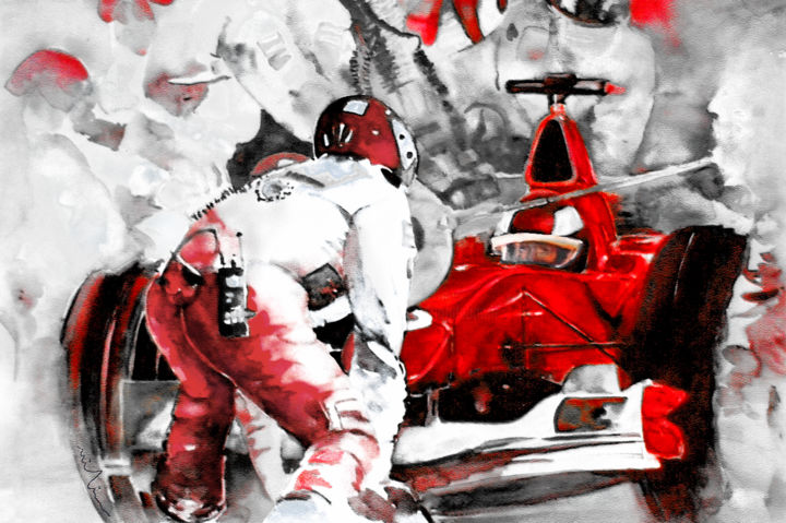 Ferrari Formula 1 - ©  sports, sport art, formula 1, racing, cars, car racing, Ferrari, team, impressionism, expressionism, pit stop Online Artworks