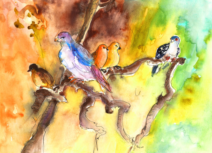 Birds in Gran Canaria 01 - Painting, ©2014 by Miki de Goodaboom -                                                                                                                                                                                                                                                                                                                                                                                                                                                                                                                                                                                                                                                                                                                                                                                                                                                              Abstract, abstract-570, Travel, art, Europe, Spain, Canary Islands, Gran Canaria, animals, bird, birds, animal, little birds, trees, tree branches, impressionism, expressionism, Crocrodile Park