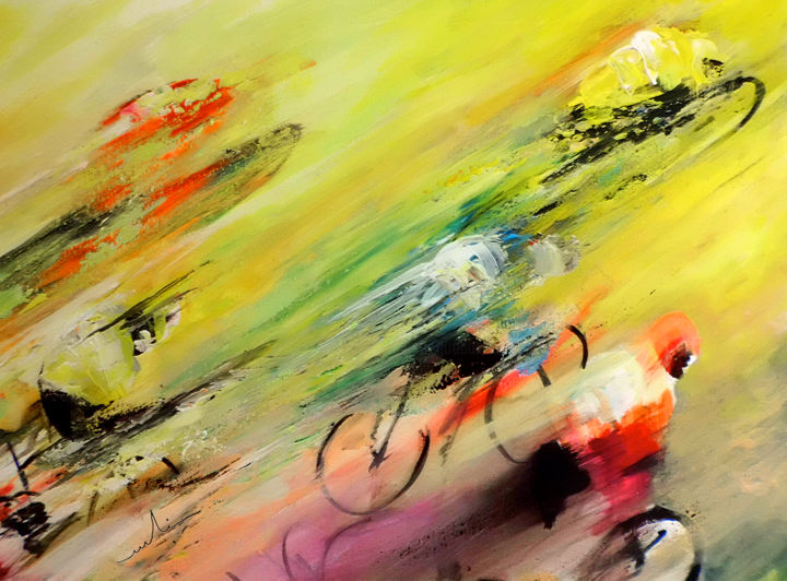 Breaking Away 02 - ©  sports, cycling, cyclist, impressionist, art miki, deporte, peinture cyclisme, ciclismo, maillot jaune, yellow jersey, tour de france, acrylics Online Artworks