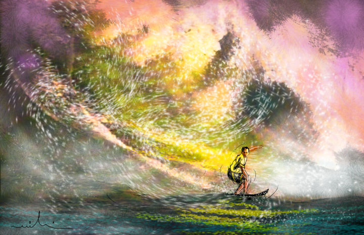 Surfscape 02 - Painting ©2014 by Miki de Goodaboom -                            Contemporary painting, sports, water sports, surf, waves, impressionism, art miki, surfing, extreme sports