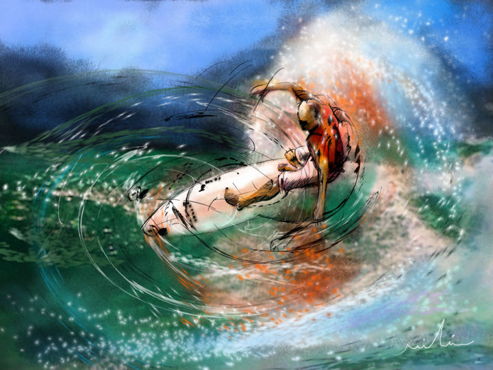 Surfscape 03 - Painting ©2014 by Miki de Goodaboom -                            Contemporary painting, sports, water sports, surf, waves, impressionism, art miki, surfing, extreme sports