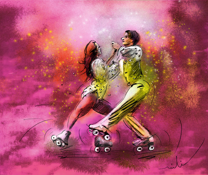 Artistic Roller Skating 01 - Painting ©2014 by Miki de Goodaboom -                            Abstract Expressionism, sports, skating, roller skating, artistic skating, skating couple, art miki, Olympics games, skating champions