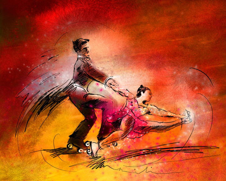 Artistic Roller Skating 02 - Painting ©2014 by Miki de Goodaboom -                            Abstract Expressionism, sports, skating, roller skating, artistic skating, skating couple, art miki, Olympics games, skating champions