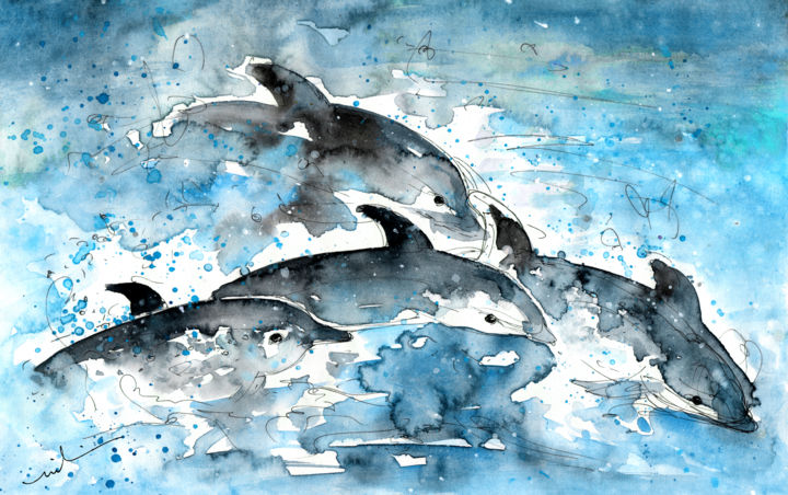 Dolphins in Gran Canaria - Painting ©2014 by Miki de Goodaboom -                            Abstract Expressionism, Travel, art, Europe, Spain, Canary Islands, Gran Canaria, Puerto Rico, Spirit of The Sea, animals, dolphins, sea, boat trips, wild animals