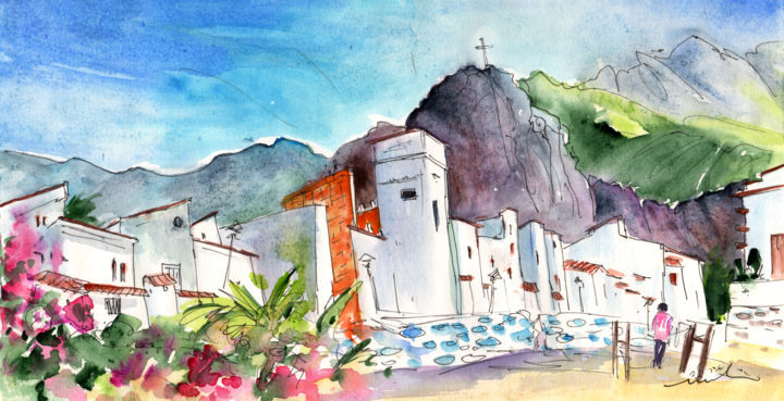Puerto De Las Nieves 02 - Painting ©2014 by Miki de Goodaboom -                            Abstract Expressionism, Travel, art, Europe, Spain, Canary Islands, Gran Canaria, North Gran Canaria, Puerto de Las Nieves, Agaete, townscape, streets, houses, people, landscapes, mountains