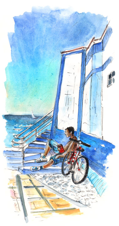 Puerto De Las Nieves 03 - Painting ©2014 by Miki de Goodaboom -                            Abstract Expressionism, Travel, art, Europe, Spain, Canary Islands, Gran Canaria, North Gran Canaria, Puerto de Las Nieves, Agaete, townscape, streets, houses, people, landscapes, seascapes, bike, bkies, man with bike, steps, man sitting on steps, biker, cyc
