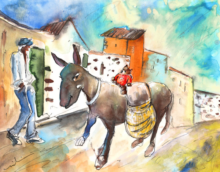 The Donkey and The Little Bear - ©  Travel, art, Europe, Spain, Canary Islands, Gran Canaria, South Gran Canaria, Aguimes, animals, donkeys, bears, Teddy, Teddy bears, townscape, houses, old man, bear riding a donkey, impressionism, expressionism, illustration Online Artworks
