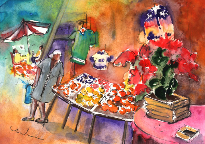 Shop in The Mountains of Gran Canaria - Painting ©2014 by Miki de Goodaboom -                            Abstract Expressionism, Travel, art, Europe, Spain, Canary Islands, Gran Canaria, mountains, townscape, village, shop, fruits, oranges, clothes, jumpers, old woman, people at cafe, flowers, impressionism, expressionism, poncietta