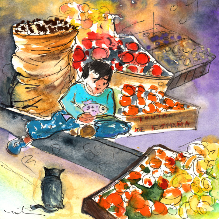 Fruit Shop in The Mountains of Gran Canaria - Painting ©2014 by Miki de Goodaboom -                            Abstract Expressionism, Travel, art, Europe, Spain, Canary Islands, Gran Canaria, mountains, townscape, village, houses, grocery shop, fruits, oranges, children, boy, little boy, fish, little bot holding fish, cat, cats, black cat