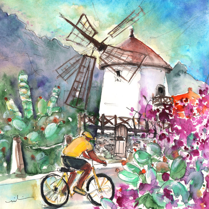 Cycling in The Mountains of Gran Canaria - Painting ©2014 by Miki de Goodaboom -                            Abstract Expressionism, Travel, art, Europe, Spain, Canary Islands, Gran Canaria, South Gran Canaria, mountains, townscape, landscapes, windmill, windmills, flowers, plants, pink flowers, sports, cycling, cyclist, cyclist, bikes, bike, man on a bike
