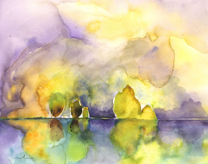 Dawn 42 - Painting, ©2014 by Miki de Goodaboom -                                                                                                                                                                                                                                                                                                                                                                                                                                                                                                                                                                                                                                                                                                                          Figurative, figurative-594, dawn, landscapes, light, impressionism, trees, skies, minimalism, simplicity, aquarelle, times, day, lose painting, free painting