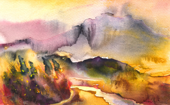 A River in France - Painting, ©2014 by Miki de Goodaboom -                                                                                                                                                                                                                                                                                                                                                                                                                                                                                                                                                                                                                                                                                                                                                                                                                                                                                                                                                                                                                                              Abstract, abstract-570, Travel, art, Europe, France, landscapes, light, impressionism, trees, skies, minimalism, simplicity, aquarelle, times, day, lose painting, free painting, sunset, sunsets, river, rivers