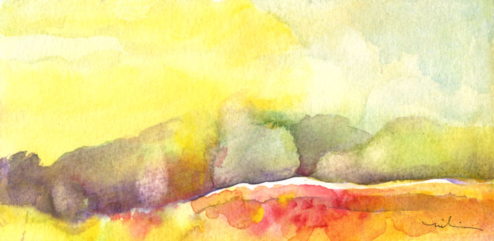 Early Morning 65 - Painting, ©2014 by Miki de Goodaboom -                                                                                                                                                                                                                                                                                                                                                                                                                                                                                                                                                                                                                                                                                                                          Figurative, figurative-594, landscapes, light, impressionism, skies, minimalism, simplicity, aquarelle, times, day, lose painting, free painting, early morning, trees