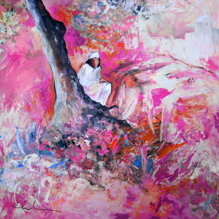 Sunday By The Tree 02 - Painting,  23.6x23.6 in, ©2014 by Miki de Goodaboom -                                                                                                                                                                                                                                                                                                                                                                                                                                                                                                                                                                                      Figurative, figurative-594, trees, sunday, woman, woman sitting by a tree, pink, expressionism, impressionism, pink flowers, townscape, town