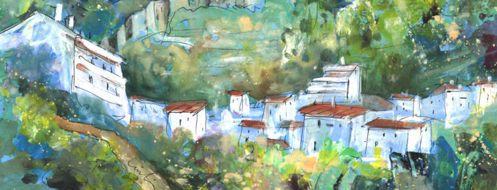 Cazorla 03 - Painting, ©2014 by Miki de Goodaboom -                                                                                                                                                                                                                                                                                                                                                                                                                                                                                                                                                                                                                                                                                                                                                                                                                                                              Abstract, abstract-570, travel, art, europe, spain, jaen, sierra segura, cazorla, landscapes, nature, townscape, nature, houses, mountains, expressionism, impressionism, castles