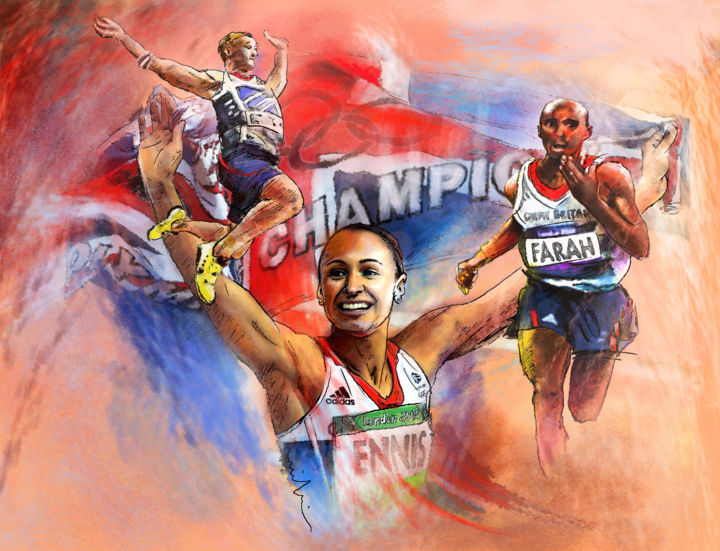 Olympic Night of Gold - ©  sports, sport art, deporte, athletics, london, olympics, 2012, Jessica Ennis, heptathlon, Greg Rutherford, long jump, Mo Farah, 10000 metres, gold medals, Olympic champions, Olympic games Online Artworks