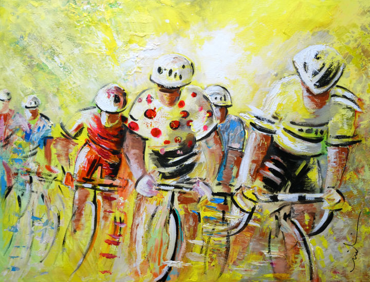 Le Tour de France 07 Acrylics - ©  sports, cycling, cyclisme, tour de France, art miki, impressionism, strong colours, bikes, racing, sport, men, acrylics, speed, movement, extreme sports Online Artworks