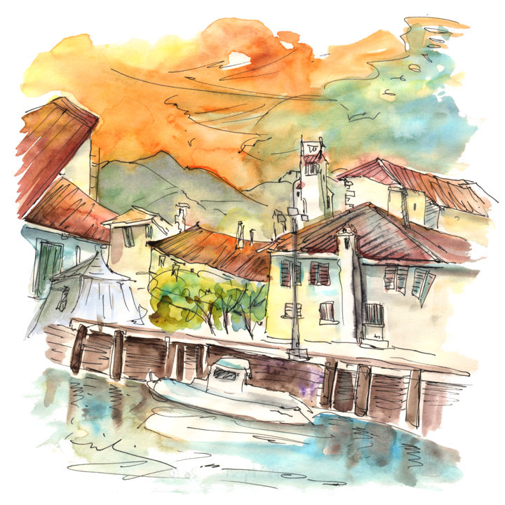 Saint-Jean-de-Luz 08 - Painting, ©2014 by Miki de Goodaboom -                                                                                                                                                                                                                                                                                                                                                                                                                                                                                                                                                                                                                                                                                                                                                                                                                                                                                                                                                                                                                                              Abstract, abstract-570, travel, art, sketch, Europe, France, pays basque, Saint-Jean-de-Luz, ocean, atlantic, impressionism, expressionism, watercolour, ink, art miki, seascape, bay of Biscay, Aquitaine, French basque country, houses, skies