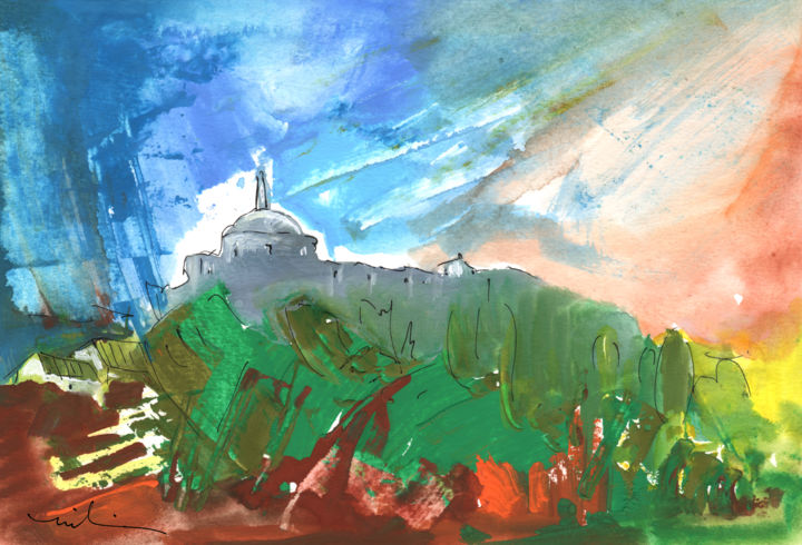 Village in Cathar Country - Painting, ©2014 by Miki de Goodaboom -                                                                                                                                                                                                                                                                                                                                                                                                                                                                                                                                                                                                                                                                                                                                                                                                                  Abstract, abstract-570, travel, art, Europe, France, South of France, Cathar Country, landscape, landscapes, nature, trees, village, old buildings, castle, fort, expressionist
