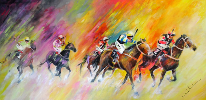 Horse Racing 03 - Painting,  75x150 cm ©2014 by Miki de Goodaboom -                                                            Expressionism, Canvas, Animals, sports, sport art, animals, racing, horse racing, horse, horses, riders, expressionism, impressionism