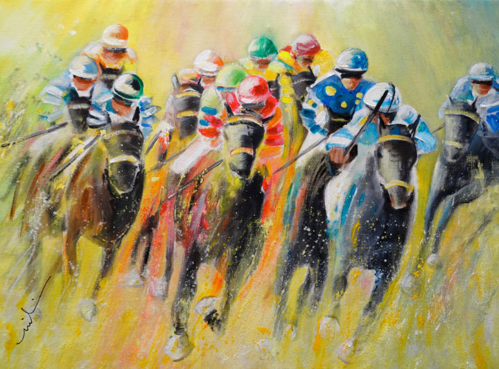 Horse Racing 06 - ©  sports, horses, animals, animal, horses racing, horse racing, impressionism, expressionism, , racing, sports, sport, horse sport, horse art, equitation Online Artworks