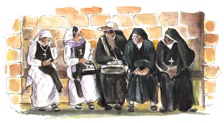Nuns in Noto - Painting, ©2014 by Miki de Goodaboom -                                                                                                                                                                                                                                                                                                                                                                                                                                                                                                                                                                                                                                                                                                                                                                                                                                                                                                              Expressionism, expressionism-591, Travel, travel, art, sketch, europe, italy, sicily, impressionism, expressionism, noto, historic town, religion, nuns, nun, nuns sitting together, nuns with laptop, nuns with mobile phones