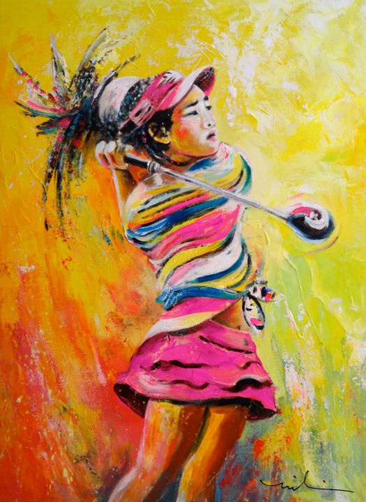 Lucy Li 02 - Painting,  60x80 cm ©2014 by Miki de Goodaboom -                                                            Expressionism, Canvas, Sports, Sports, sport, art, Sport art, golf, women golf, female golfer, PGA, PGA Tour, American golf, girl golfing, 11 years golfer, golf wonder girl, portraits, golfers, portraits, Lucy Li, impressionism, expressionist, vibran
