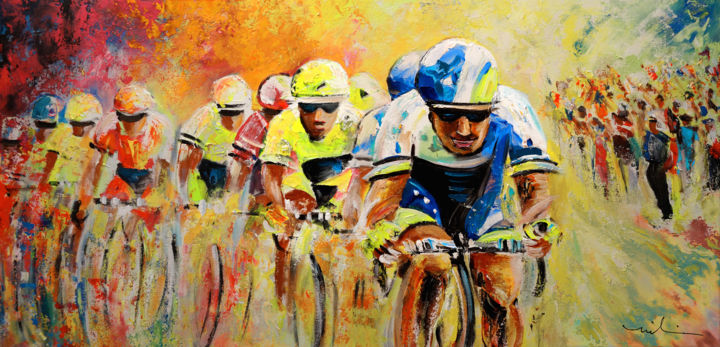 Le Tour de Force - Painting,  126x63 cm ©2014 by Miki de Goodaboom -                                                            Expressionism, Canvas, Sports, sports, cycling, cyclisme, tour de france, art miki, impressionism, strong colours, bikes, racing, sport, men, acrylics, speed, movement, extreme sports