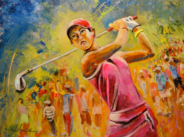 Michelle Wie - ©  Michelle Wie, US golfers, Sports, sport, art, Sport art, golf, women golf, female golfer, PGA, PGA Tour, American golf, portraits, golfers, portraits, impressionism, expressionist, vibrant portrait, irons, iron club, Michelle Wie with iron, spectators, cr Online Artworks