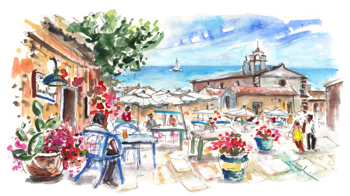 Marzamemi 02 - Painting, ©2014 by Miki de Goodaboom -                                                                                                                                                                                                                                                                                                                                                                                                                                                                                                                                                                                                                                                                                                                                                                                                                                                                                                                                                                                                                                                                                              Expressionism, expressionism-591, Travel, Travel, art, sketch, Europe, Italy, Sicily, Marzamemi, impressionism, expressionism, seaside village, fishing village, beautiful village, houses, churches, bars, cafes, restaurants, people, streets, townscape