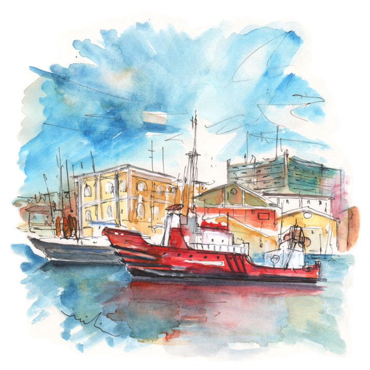 Red Boat in Cartagena Harbour - Painting ©2014 by Miki de Goodaboom -                                                            Expressionism, Paper, Travel, travel, art, travel art, travelling, impressionism, expressionism, europe, spain, murcia, cartagena, townscape, buildings, architecture, harbour, harbours, spanish harbour, boats, skies, red boat