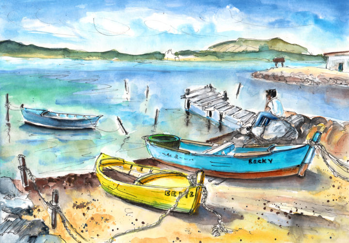 Boats in Gruissan - Painting, ©2014 by Miki de Goodaboom -                                                                                                                                                                                                                                                                                                                                                                                                                                                                                                                                                                                                                                                                                                                                                                                                                                                                                                                                                                                                                                                                                              Expressionism, expressionism-591, Travel, travel, art, travel art, travelling, impressionism, expressionism, Europe, France, South, Gruissan, Gruissan Plage, Mediterranean sea, townscape, seascape, harbour, boats, fishermen boats, rocks, man sitting on rocks, blue boats