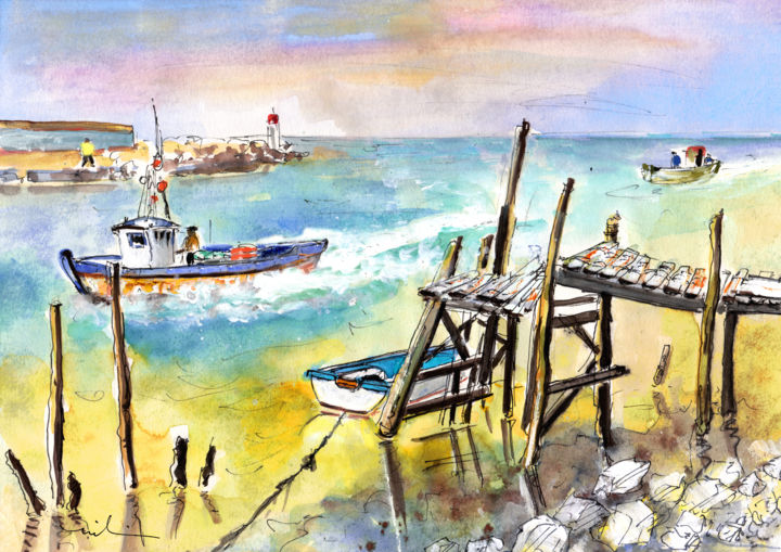 Boardwalks and Boats by Britanny 01 - Painting ©2014 by Miki de Goodaboom -                                                            Expressionism, Paper, Travel, travel, art, travel art, travelling, impressionism, expressionism, Europe, France, Bretagne, Brittany, seascape, seascapes, boats, boardwalks, fishermen, fishermen boats