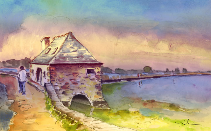 House By The Water In Brittany - Painting ©2014 by Miki de Goodaboom -                                                            Expressionism, Paper, Seascape, travel, art, travel art, travelling, impressionism, expressionism, Europe, France, Bretagne, Brittany, seascape, seascapes, trees, landscape, landscapes, skies, people, house, houses, man walking, nature