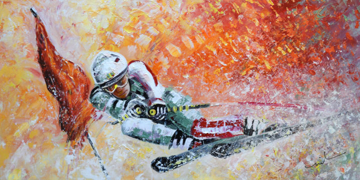 Skiing 07 - Painting,  65x130 cm ©2014 by Miki de Goodaboom -                                                            Expressionism, Canvas, Sports, sports, winter sports, snow