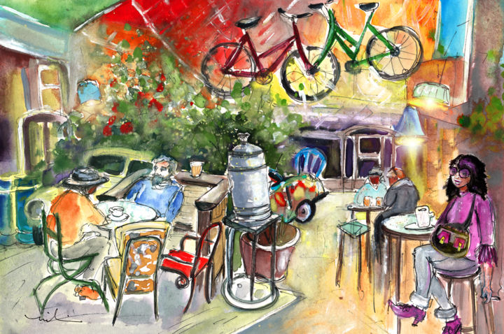 Dora In A Ruin Bar In Budapest - Painting, ©2014 by Miki de Goodaboom -                                                                                                                                                                                                                                                                                                                                                                                                                                                                                                                                                                                                                                                                                  Expressionism, expressionism-591, Humor, Budapest, Hungary, ruin bar, Travel, art, Europe, crazy cafe, crazy decor, bicycle, woman, people at cafe