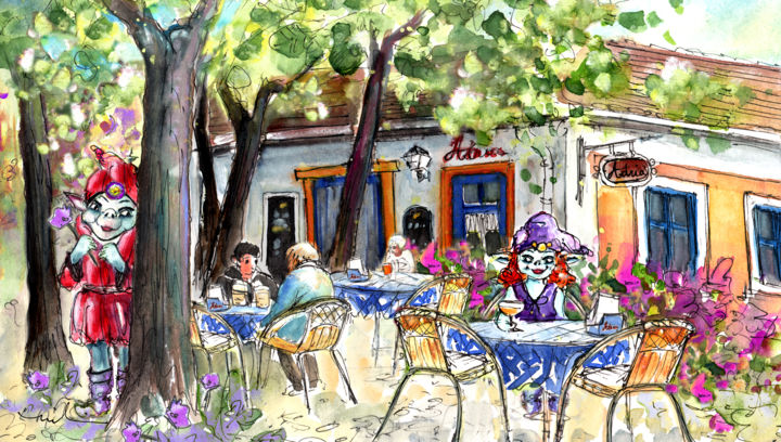 Romance In Szentendre - Painting, ©2014 by Miki de Goodaboom -                                                                                                                                                                                                                                                                                                                                                                                                                                                                                                                                                                                                                                                                                                                              Expressionism, expressionism-591, Humor, Hungary, Szentendre, townscape, cafes, cafe, people sitting at cafe, trolls, troll, woman troll, man troll, troll love, trees